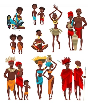 Afrykańscy ludzie odzież płaskie ikony kolekcja