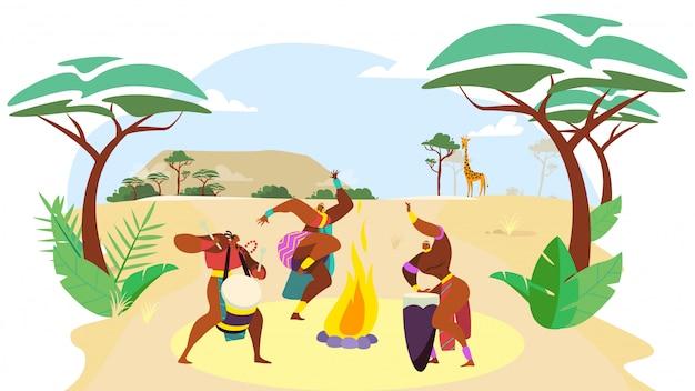 Afrykańscy ludzie tanczą, mężczyzna i kobiety postać z kreskówki wykonuje tradycyjnego kultura rytuał, ilustracja