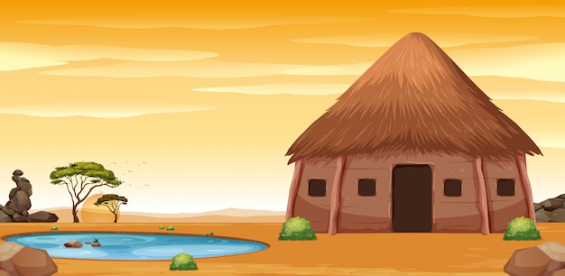 Afrykańska chata na pustyni