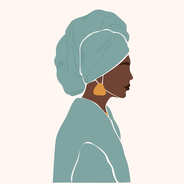 Afrykańska dziewczyna portret minimalistyczny wzór boho