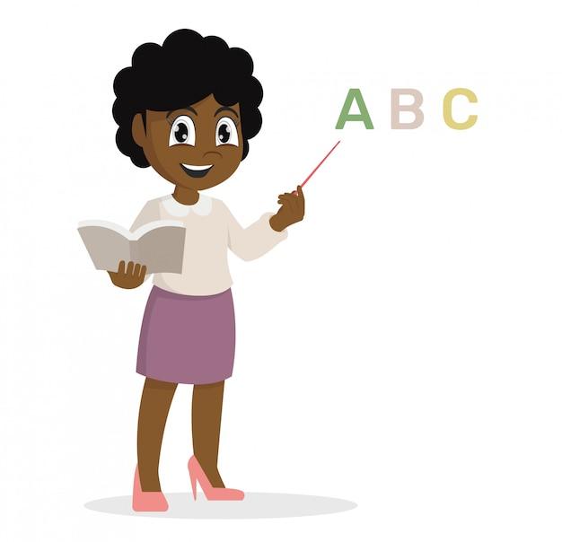 Afrykańska dziewczyna w nauczycielu uczy lekcję.