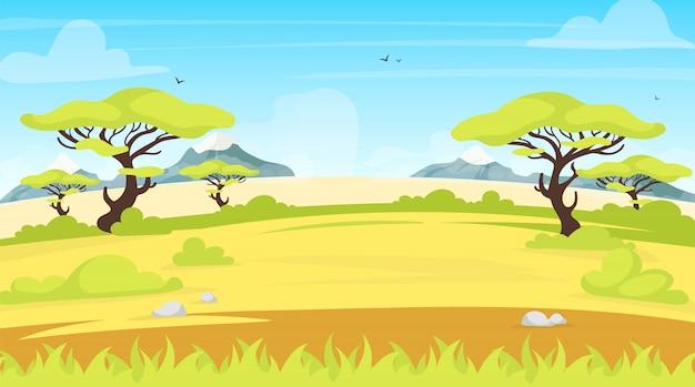 Afrykańska ilustracja krajobraz. panoramiczna kraina safari. scena zielonej sawanny z liśćmi. pole łąkowe. zielona sceneria. exortyczne i tropikalne użytki zielone. tło kreskówka dolina lato