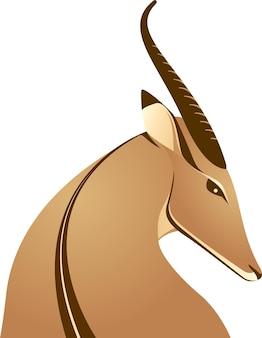 Afrykańska jeleń gazela antylopa piękna ikona logo