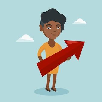 Afrykańska kobieta bsiness mające na celu wzrost biznesu.