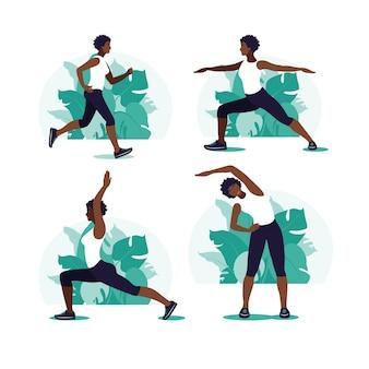Afrykańska kobieta ćwiczeń w parku. sporty na świeżym powietrzu. pojęcie zdrowego stylu życia i fitness.
