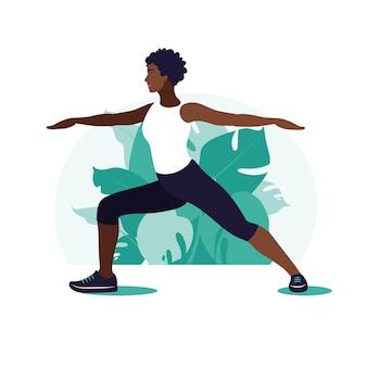Afrykańska kobieta ćwiczenia w parku. sporty na świeżym powietrzu. koncepcja zdrowego stylu życia i fitness. ilustracja wektorowa w stylu płaski.