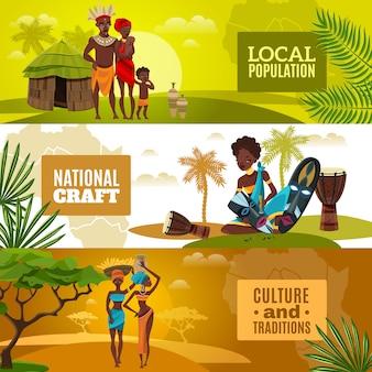 Afrykańska kultura płaskie poziome banery zestaw