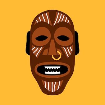 Afrykańska maska rytualna. płaska ilustracja w jasnych kolorach na żółto.