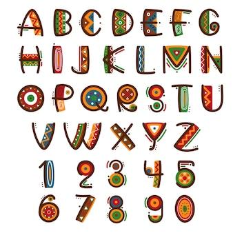 Afrykańska prymitywna czcionka etniczna. ręcznie rysowane jasny alfabet safari.
