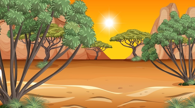 Afrykańska sawanna las krajobraz scena w czasie zachodu słońca