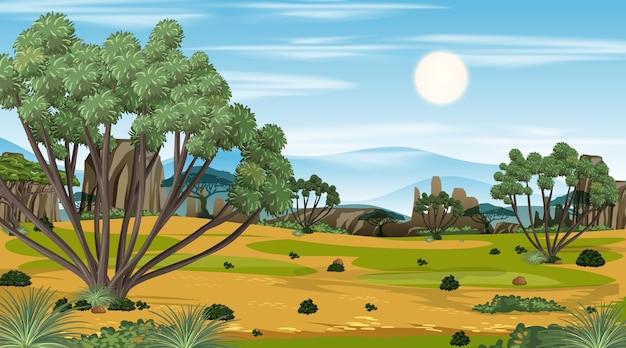 Afrykańska scena krajobrazu lasu sawanny w ciągu dnia