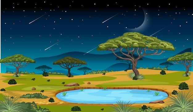Afrykańska scena krajobrazu lasu sawanny w nocy