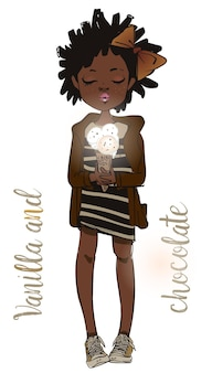 Afrykańska śliczna letnia dziewczyna z lodami