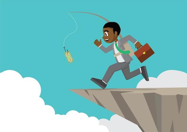 Afrykański biznesmen goni pieniądze na falezie.