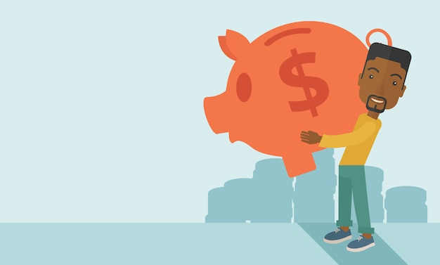 Afrykański biznesmen nosi duży skarbonkę za oszczędzanie pieniędzy.