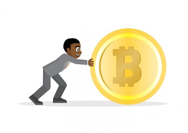 Afrykański biznesmen pcha dużego bitcoin.