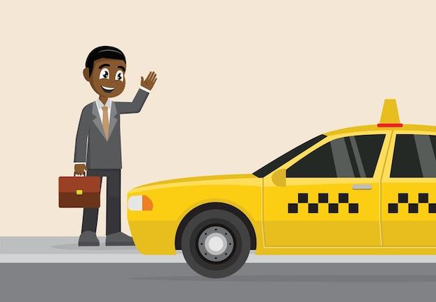 Afrykański biznesmen wita taxi.