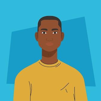 Afrykański charakter człowieka, na niebieskim tle.