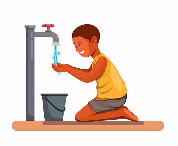 Afrykański chłopiec szczęśliwy pić wodę.