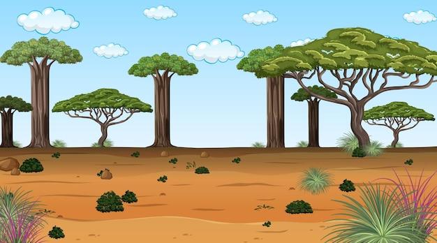 Afrykański krajobraz leśny w scenie dziennej z wieloma dużymi drzewami
