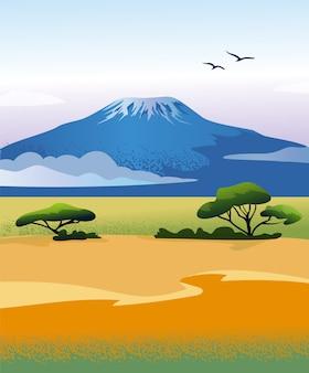 Afrykański krajobraz z górą kilimandżaro