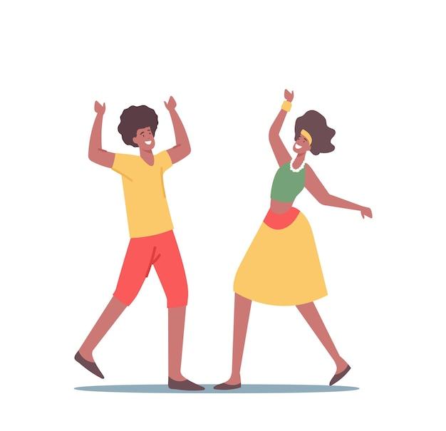 Afrykański mężczyzna i kobieta w tradycyjnych strojach jamajki zabawy, taniec podczas imprezy reggae. rastaman lub hipster postacie, rastafarian ludzie rekreacja czas wolny. ilustracja kreskówka wektor