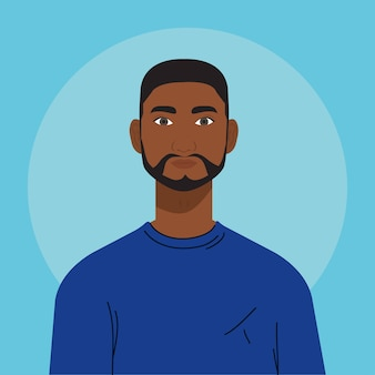 Afrykański mężczyzna z brodą, na niebieskim tle.