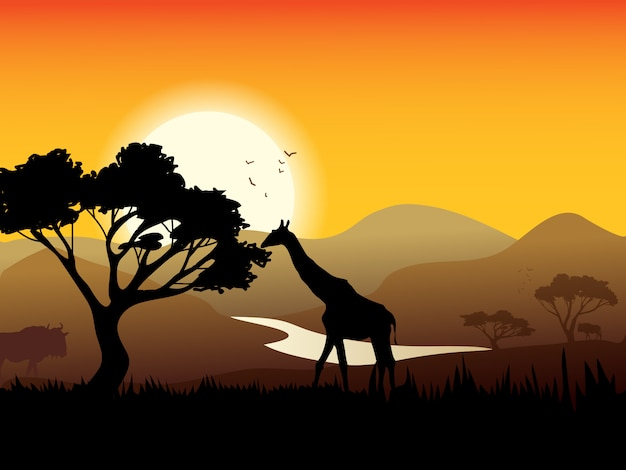 Afrykański pejzaż plakat