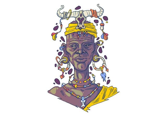 Afrykański szaman. ilustracja kreatywnych kreskówek.