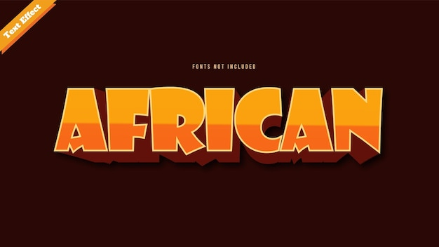 Afrykański wektor projektu efektu tekstu