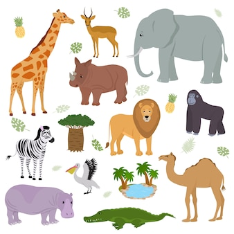 Afrykański zwierzę dziki charakter zwierzęcy słoń żyrafa goryl ssak w dzikiej afryce ilustracja zestaw wielbłąda lwa zebra hipopotama w parku narodowym safari na białym tle