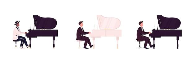 Afrykańskich i kaukaskich pianistów płaski zestaw znaków bez twarzy. muzyk klasyczny, jazzowy. koncert muzyki na żywo ilustracja kreskówka na białym tle do projektowania grafiki internetowej i kolekcji animacji