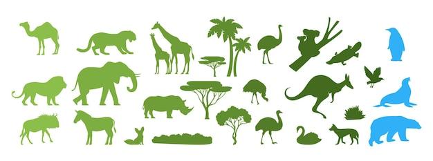 Afrykańskie australijskie arktyczne dzikie zwierzęta sylwetki wektor wycinane z papieru ilustracja ratuj zwierzęta...