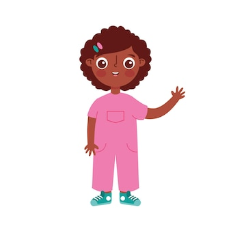 Afrykańskie dziecko kreskówka macha ręką w górę na białym tle nad białym tłem. ilustracja wektorowa