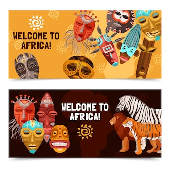 Afrykańskie etniczne maski plemienne banery