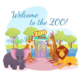 Afrykańskie i leśne dzikie zwierzęta stoją przy bramie wejściowej do parku