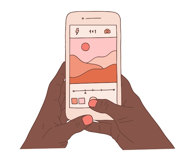 Afrykańskie ludzkie ręce trzymają smartfon i robią piękne zdjęcia krajobrazu przyrody. sesja zdjęciowa krajobrazu płaska ilustracja kolorowy kreskówka.
