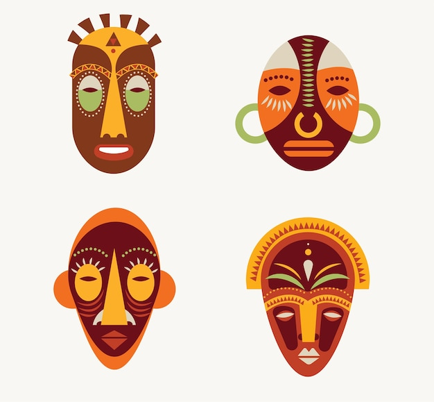 Afrykańskie maski zestaw ikon