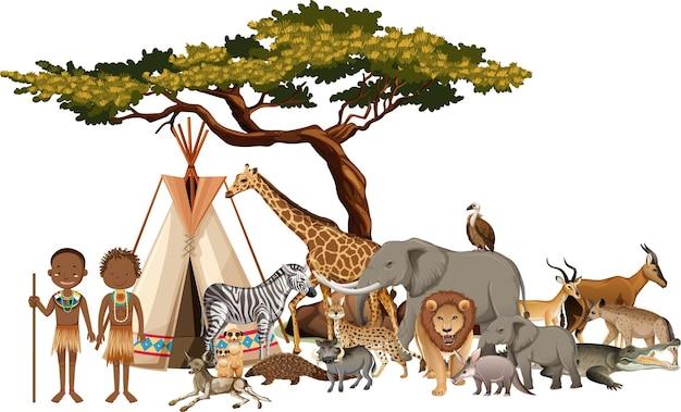 Afrykańskie plemię z grupą dzikich zwierząt afrykańskich na białym tle