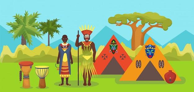 Afrykańskie plemiona tubylcze, rodzimi czarnoskórzy para ludzi mężczyzna i kobieta ilustracja. portrety afrykańskich aborygenów z domem, maskami i bębnami tomtom.