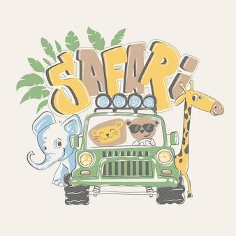 Afrykańskie safari ze zwierzętami.