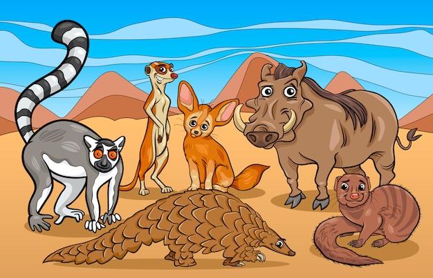 Afrykańskie ssaki zwierzęta ilustracja kreskówka