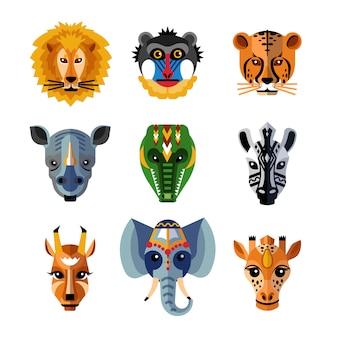 Afrykańskie zwierzęta głowy maski płaskie ikony