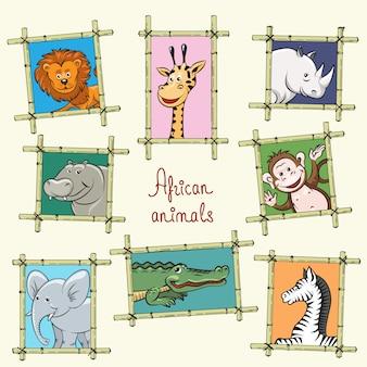Afrykańskie zwierzęta w drewnianych ramach