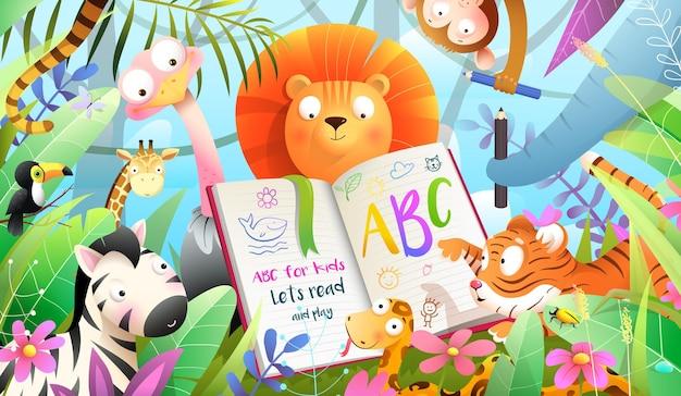 Afrykańskie zwierzęta w dżungli czytają książkę abc i uczą się pisać.