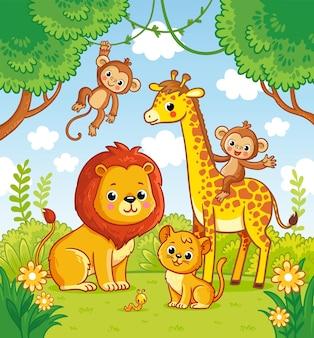 Afrykańskie zwierzęta w dżungli lew i żyrafa wektor małpa