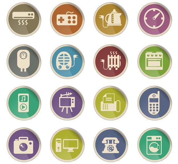 Agd wektorowe ikony w postaci okrągłych etykiet papierowych