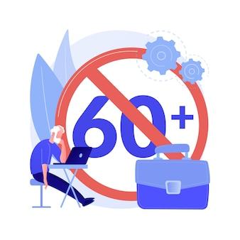 Ageism ilustracji wektorowych abstrakcyjne pojęcie problemu społecznego. stop ageizm, trudności w zatrudnieniu osób starszych, dyskryminacja w miejscu pracy, osoby starsze, abstrakcyjna metafora negatywnego stereotypu.