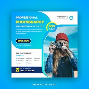 Agencja fotograficzna szablon w mediach społecznościowych lub kwadratowy baner internetowy