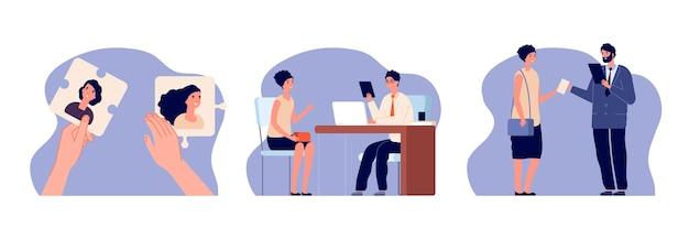 Agencja hr. rekrutacja, aplikacja dla osób poszukujących pracy. kobieta pracodawca zatrudnianie, ilustracja usługi kariery. koncepcja wektor wyboru kandydata. hr i rekrutacja kandydata, rozmowa kwalifikacyjna do pracy